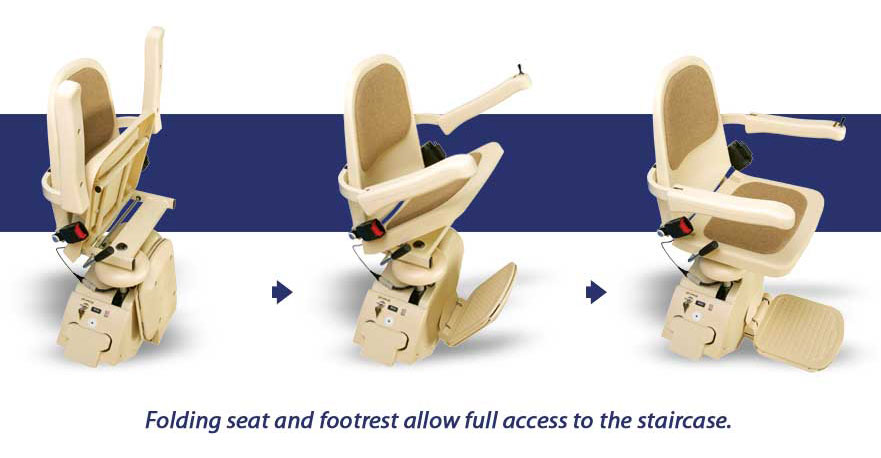 Stairlift has folding arms and footrest