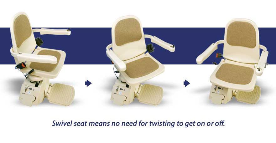 Swivel stairlift seat means no twisting